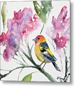 Watercolor - Western Tanager In A Flowering Tree Metal Print