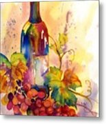 Watercolor Wine Metal Print