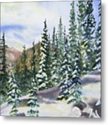 Watercolor - Winter Snow-covered Landscape Metal Print