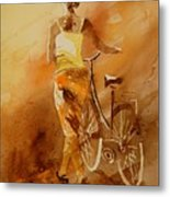 Watercolor With My Bike Metal Print