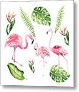 Watercolour Flamingo Family Metal Print