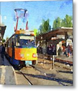 Watercolour Painting Of A Tram In Germany Metal Print