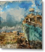 Watercolour Painting Of Abandoned Fishing Boat On Beach Landscap Metal Print