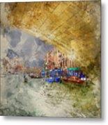 Watercolour Painting Of Low View Through Rialto Bridge Along Gra Metal Print