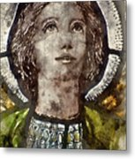 Watercolour Painting Of Stained Glass Religious Window In Church Metal Print