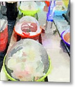 Watercolour Painting Of Sushi Dishes On The Belt Metal Print