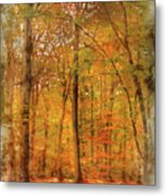 Watercolour Painting Of Vibrant Autumn Fall Forest Landscape Ima Metal Print