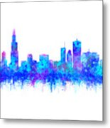 Watercolour Splashes And Dripping Effect Chicago Skyline Metal Print