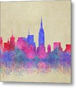 Watercolour Splashes New York City Skylines Metal Print