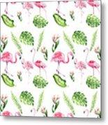 Watercolour Tropical Beauty Flamingo Family Metal Print