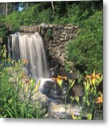 Waterfall And Lilies Moore State Park Metal Print