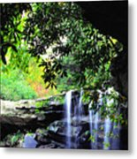 Waterfall And Rhododendron Metal Print
