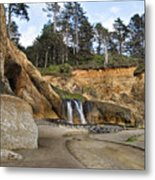 Waterfall At Hug Point State Park Oregon Metal Print