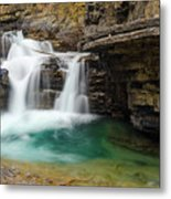 Waterfall At Johnston Canyon Metal Print