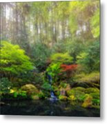 Waterfall At Lower Pond In Japanese Garden Metal Print