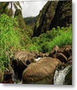 Waterfall At The Iao Needle Metal Print