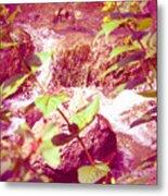 Waterfall Garden Pink Falls Metal Print