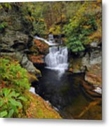 Waterfall In Autumn Metal Print