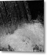 Waterfall In Black And White Metal Print