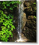 Waterfall In Forest Metal Print