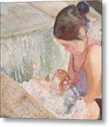 Waterfall In Her Lap Metal Print