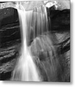 Waterfall In Nh Black And White Metal Print