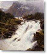 Waterfall In Norweigian Mountain Landscape Metal Print