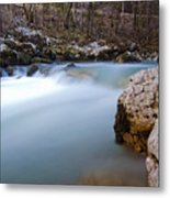 Waterfall In Slovenian Alps Metal Print