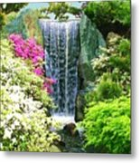 Waterfall In Spring Metal Print