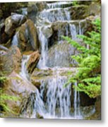 Waterfall In The Vandusen Botanical Garden 1 Metal Print