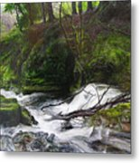 Waterfall Near Tallybont-on-usk Wales Metal Print