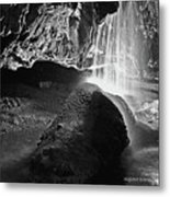 Waterfall Of The Caverns Black And White Metal Print