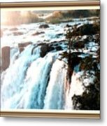 Waterfall Scene For Mia Parker - Sutcliffe L A S With Decorative Ornate Printed Frame.  Metal Print