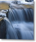 Waterfalls In Blue And Gold Metal Print