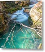 Waterfalls In The Nature Reserve Urederra Metal Print
