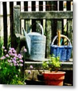 Watering Can And Blue Basket Metal Print