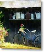 Watering Cans And Gerbera Daisies Metal Print by Stephanie Calhoun