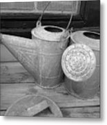 Watering Cans And Tubs B  W Metal Print