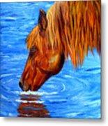 Watering Hole Horse Painting Metal Print