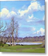 Watering Hole with Cows Metal Print