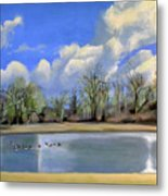 Watering Hole with Geese Metal Print