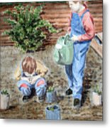 Watering The Plants Metal Print