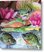 Waterlillies And Blue Giles Metal Print