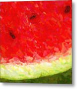 Watermelon With Three Seeds Metal Print by Wingsdomain Art and Photography
