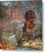 Waters Rushing At The Temple Of Sinawava Metal Print