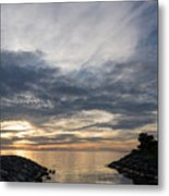 Waterscape In Gray And Yellow Metal Print