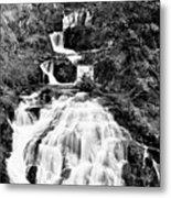 Water Slide Waterfall Bw Metal Print