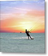 Watersport On Thecaribbean Sea At Aruba Island At Sunset Metal Print