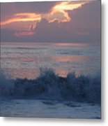 Wave Action At Sunrise Metal Print