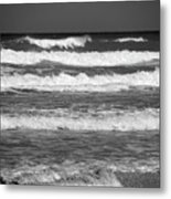 Waves 3 In Bw Metal Print